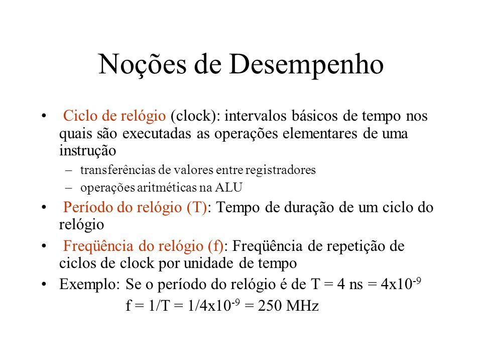 Noções de Desempenho Ciclo de relógio (clock): intervalos básicos de tempo nos quais são executadas as operações elementares de uma instrução.