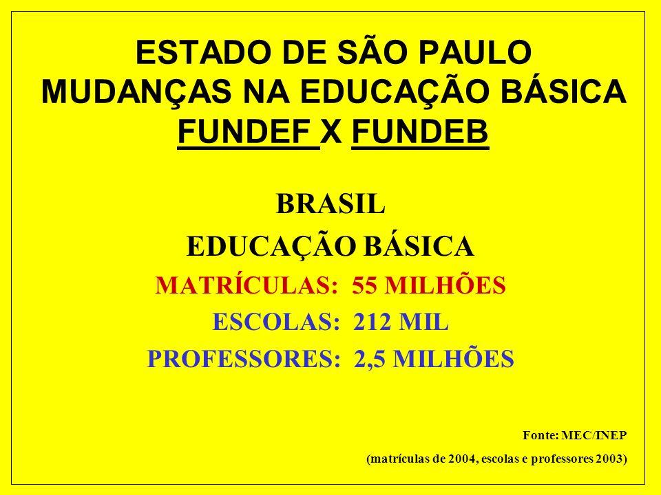 ESTADO DE SÃO PAULO MUDANÇAS NA EDUCAÇÃO BÁSICA FUNDEF X FUNDEB