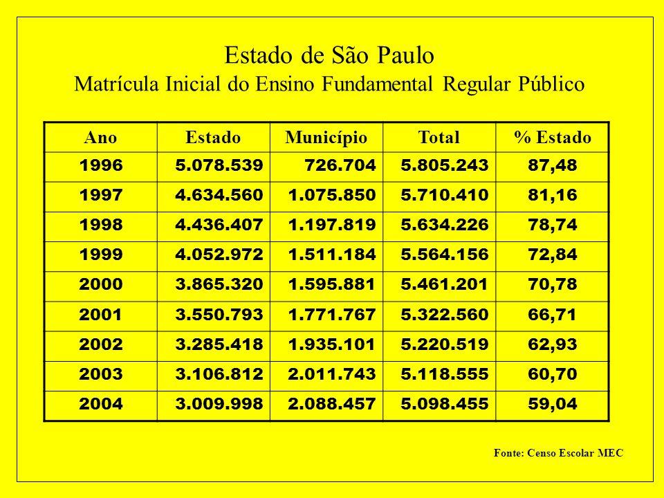 Estado de São Paulo Matrícula Inicial do Ensino Fundamental Regular Público
