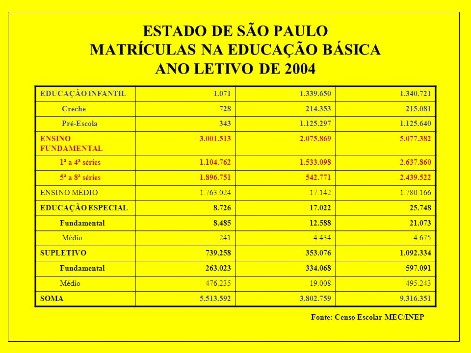 ESTADO DE SÃO PAULO MATRÍCULAS NA EDUCAÇÃO BÁSICA ANO LETIVO DE 2004