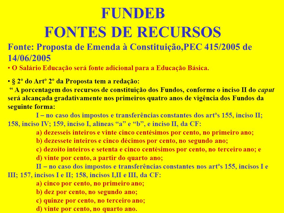FUNDEB FONTES DE RECURSOS