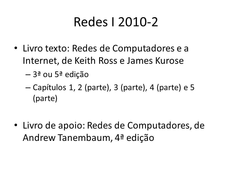 Redes I 2010-2 Livro texto: Redes de Computadores e a Internet, de Keith Ross e James Kurose. 3ª ou 5ª edição.