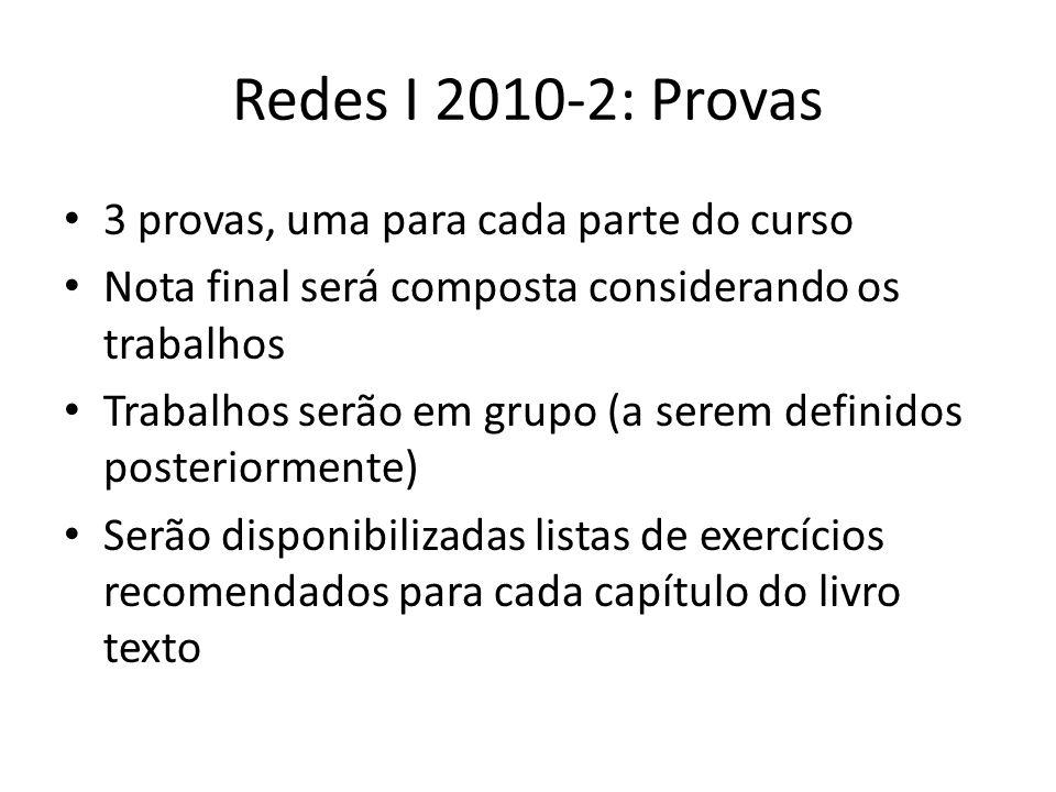 Redes I 2010-2: Provas 3 provas, uma para cada parte do curso