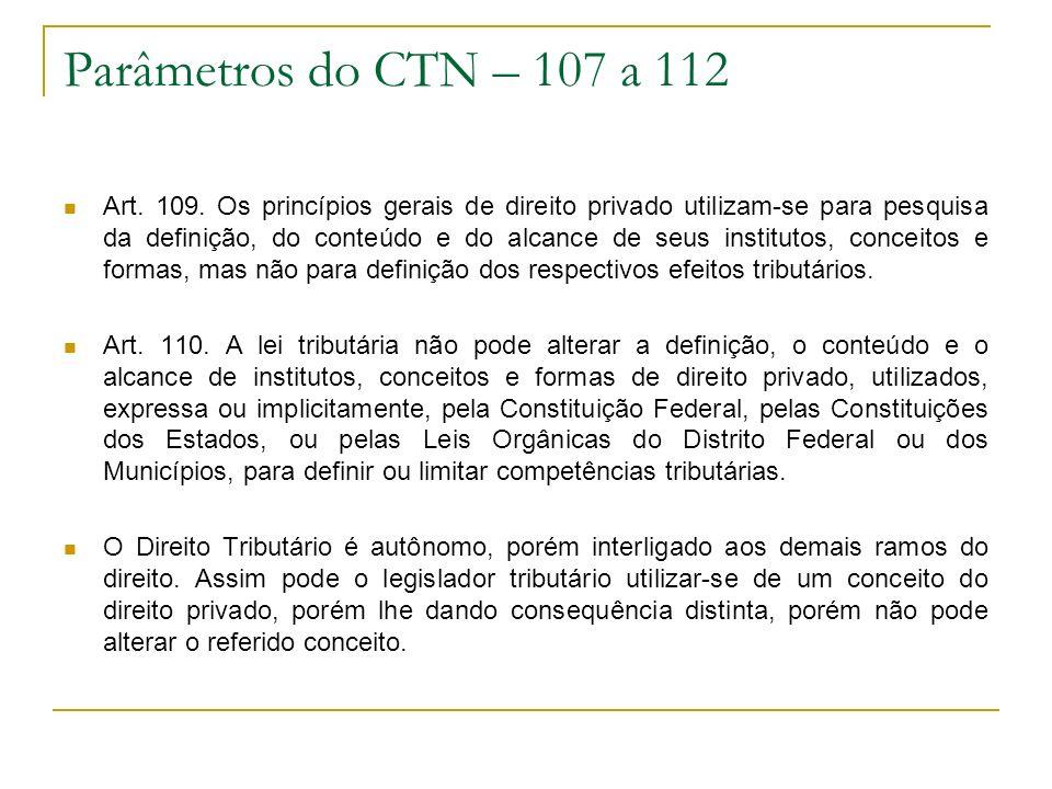 Parâmetros do CTN – 107 a 112