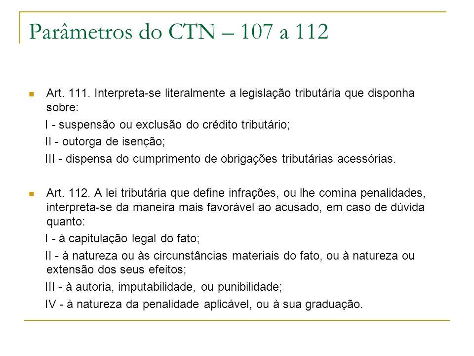 Parâmetros do CTN – 107 a 112 Art. 111. Interpreta-se literalmente a legislação tributária que disponha sobre: