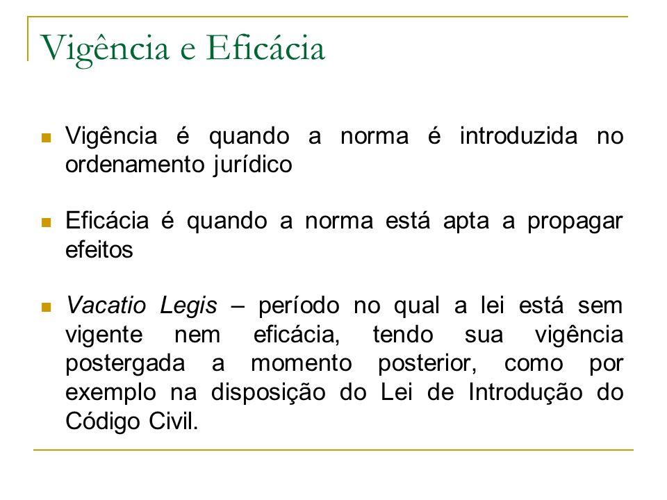 Vigência e Eficácia Vigência é quando a norma é introduzida no ordenamento jurídico. Eficácia é quando a norma está apta a propagar efeitos.