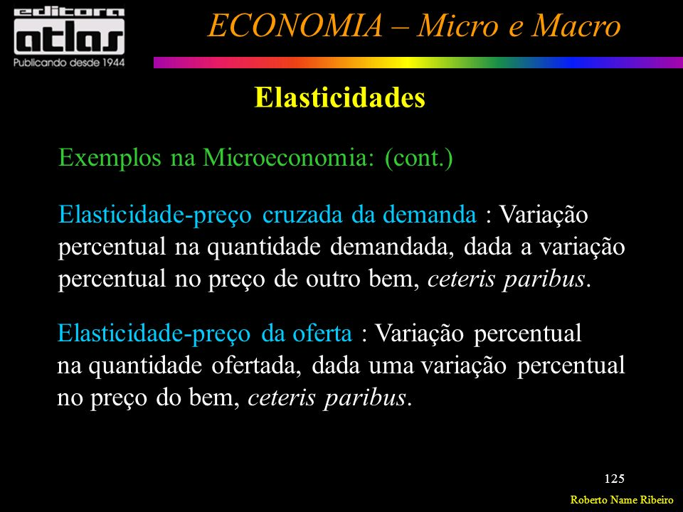 Elasticidades Exemplos na Microeconomia: (cont.)