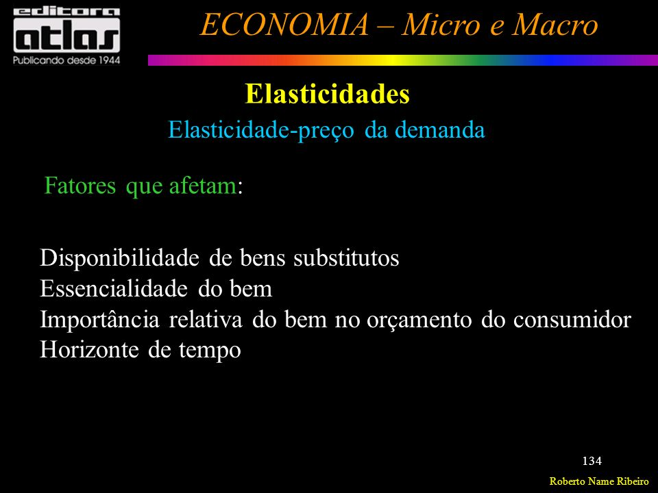 Elasticidades Elasticidade-preço da demanda Fatores que afetam: