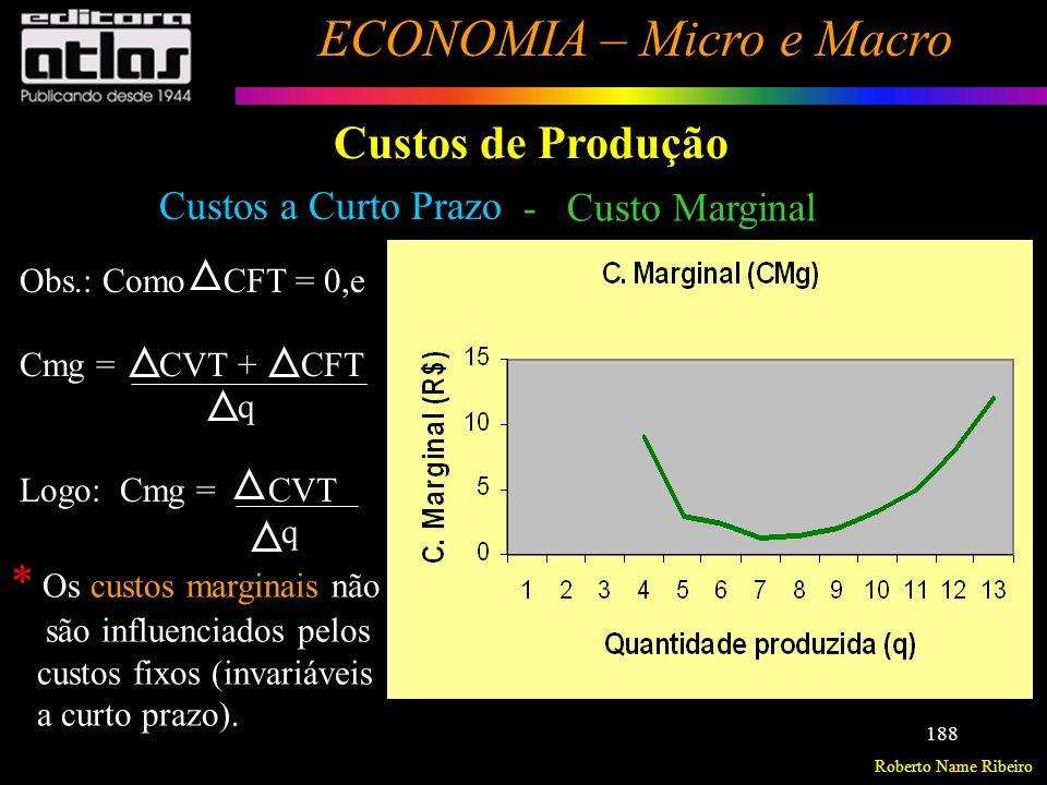 * Os custos marginais não