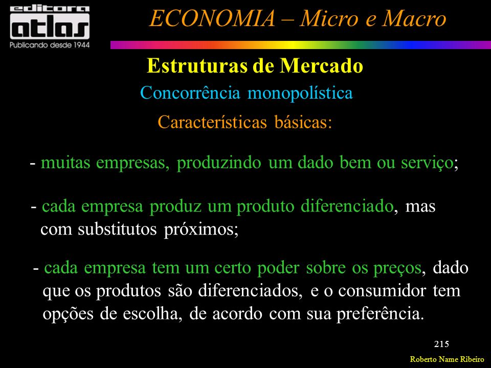 Estruturas de Mercado Concorrência monopolística
