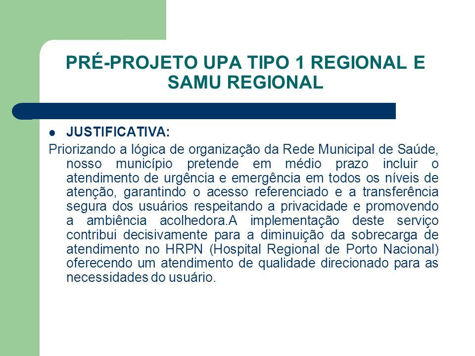 PRÉ-PROJETO UPA TIPO 1 REGIONAL E SAMU REGIONAL