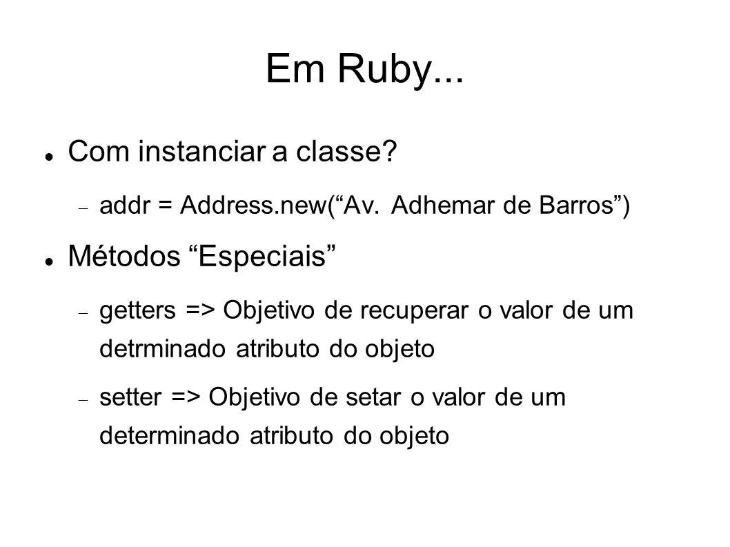 Em Ruby... Com instanciar a classe Métodos Especiais