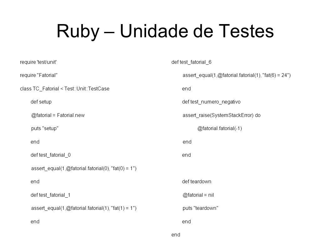 Ruby – Unidade de Testes