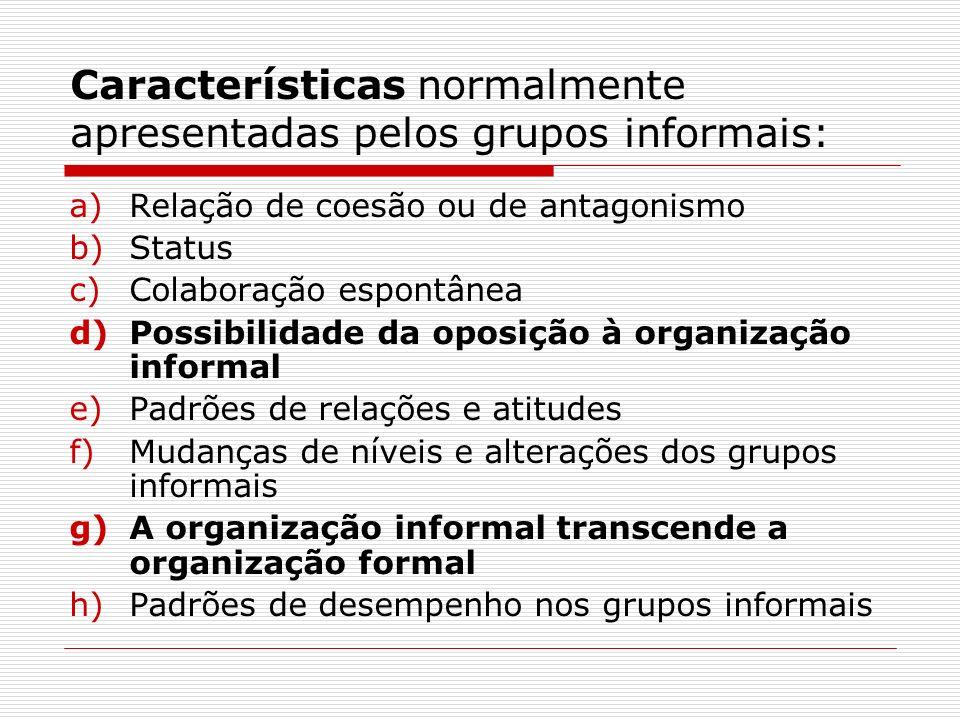 Características normalmente apresentadas pelos grupos informais: