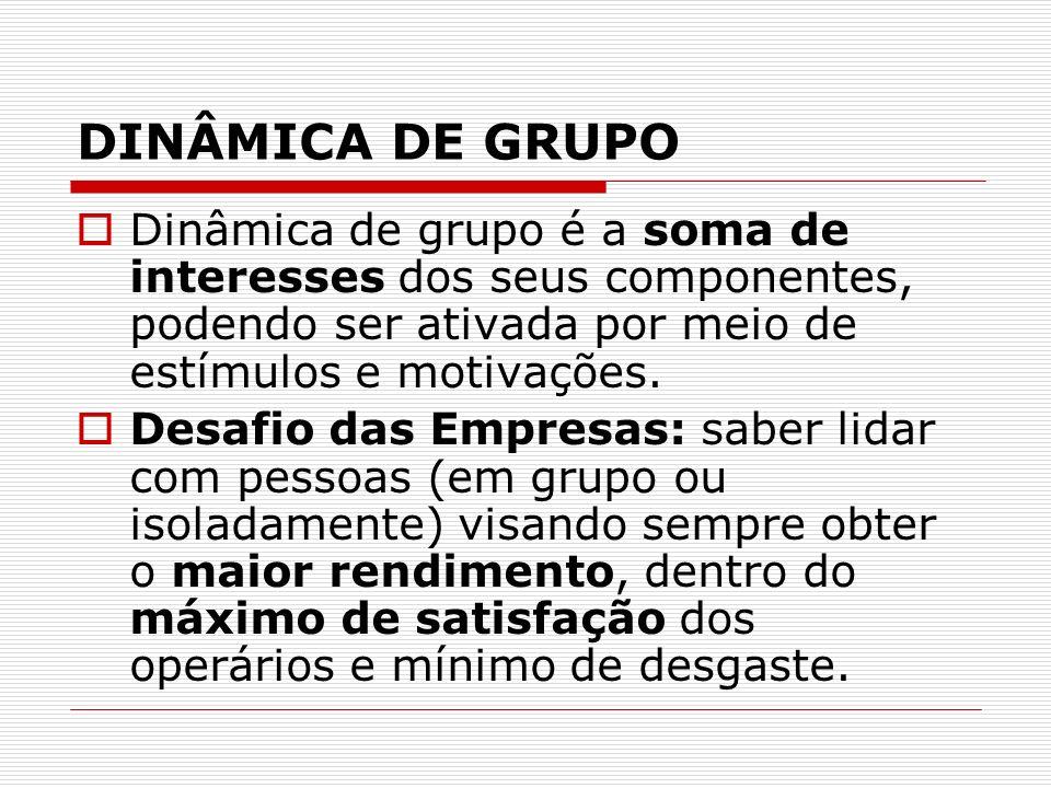 DINÂMICA DE GRUPO Dinâmica de grupo é a soma de interesses dos seus componentes, podendo ser ativada por meio de estímulos e motivações.