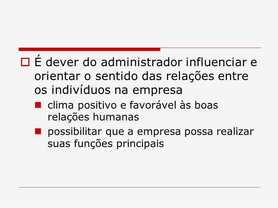 É dever do administrador influenciar e orientar o sentido das relações entre os indivíduos na empresa