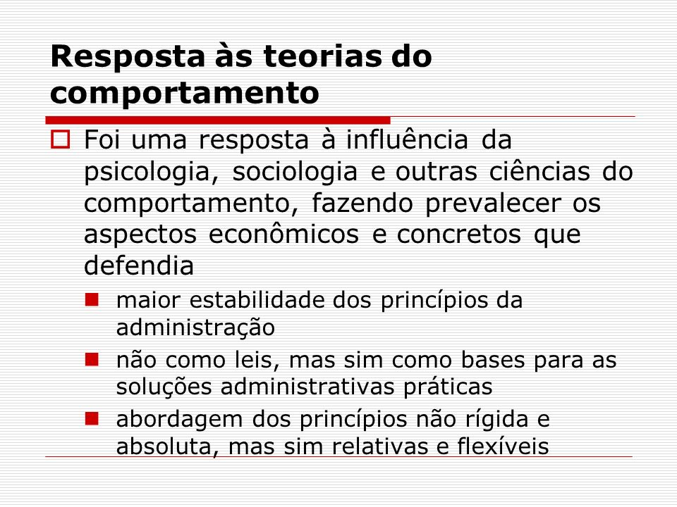Resposta às teorias do comportamento