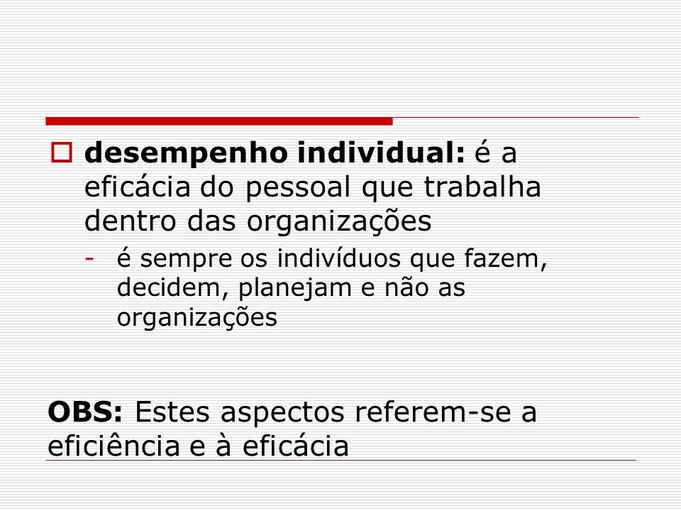 OBS: Estes aspectos referem-se a eficiência e à eficácia