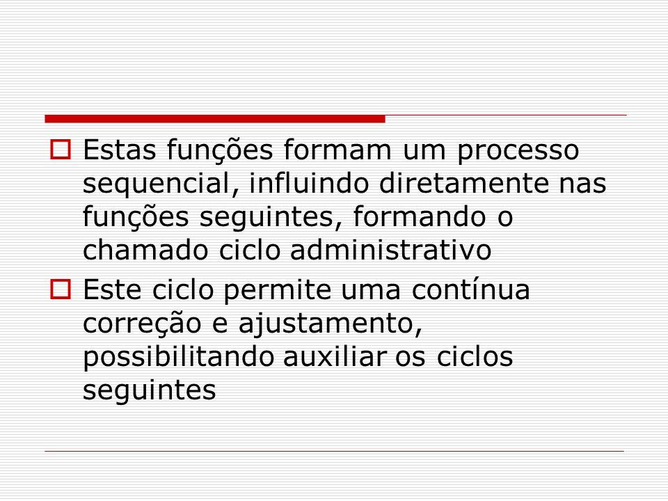 Estas funções formam um processo sequencial, influindo diretamente nas funções seguintes, formando o chamado ciclo administrativo