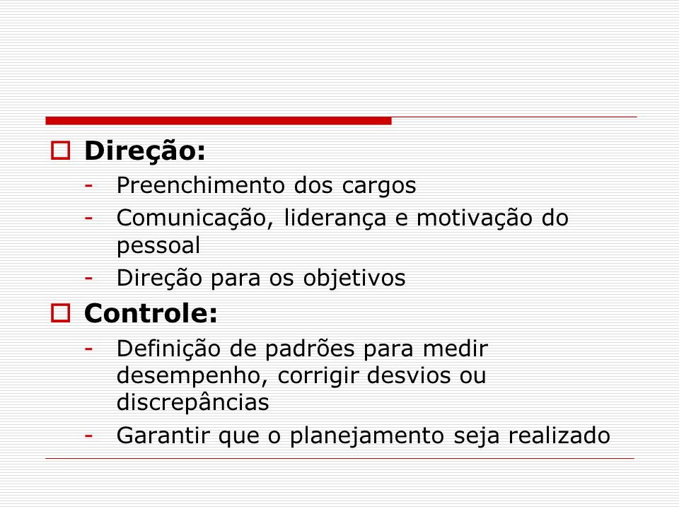 Direção: Controle: Preenchimento dos cargos
