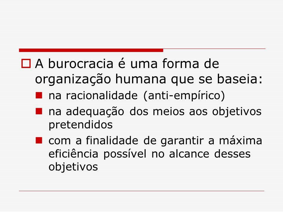 A burocracia é uma forma de organização humana que se baseia: