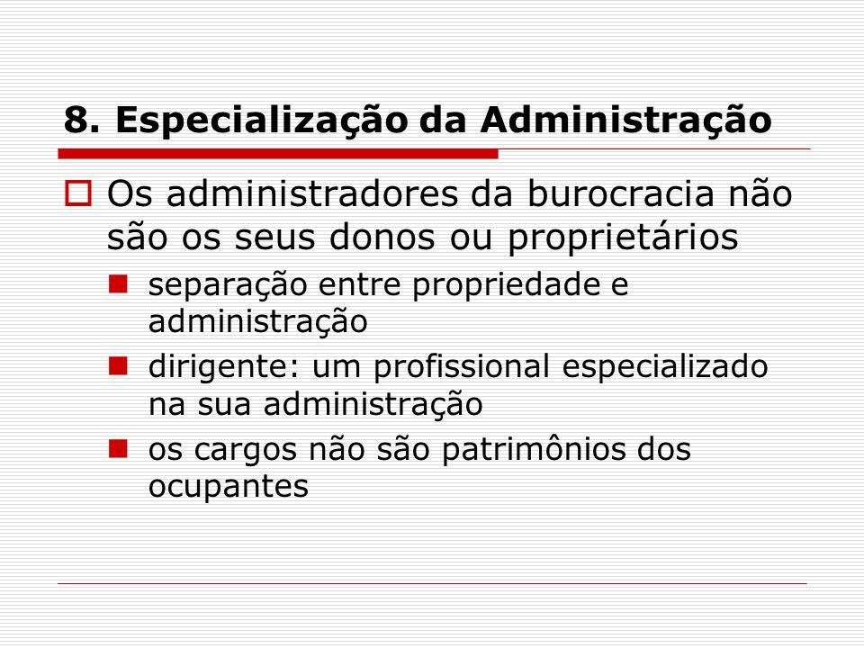 8. Especialização da Administração