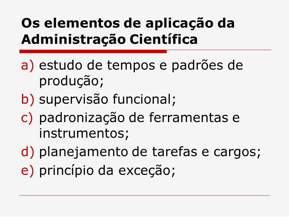 Os elementos de aplicação da Administração Científica