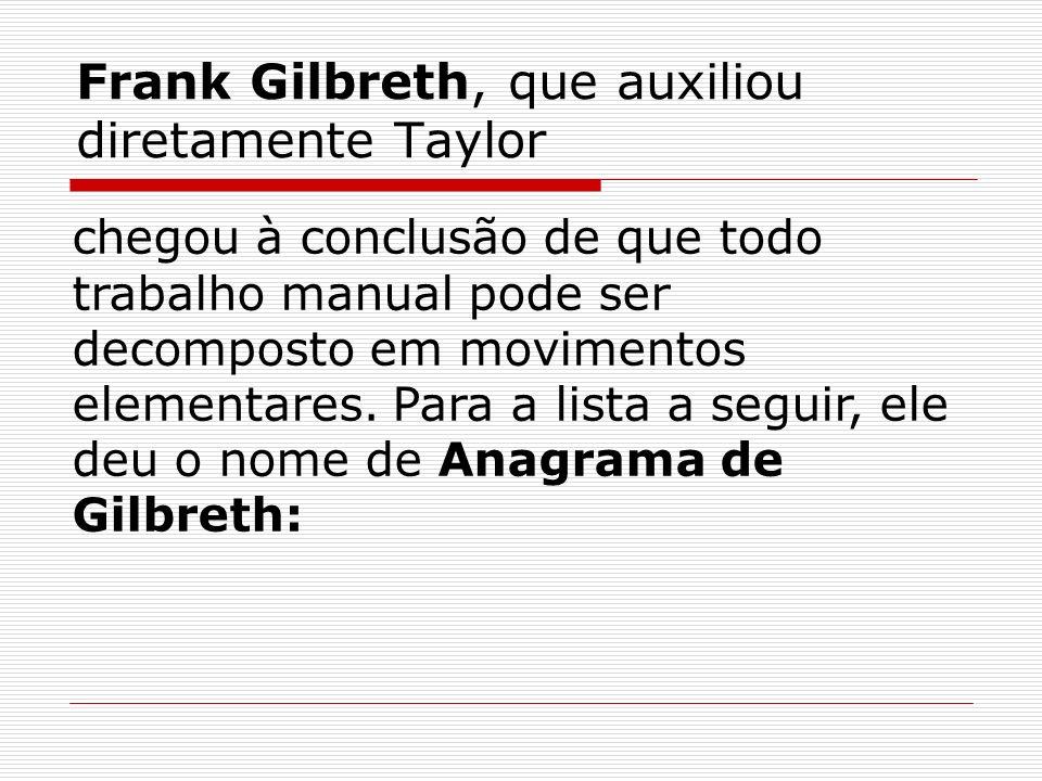 Frank Gilbreth, que auxiliou diretamente Taylor
