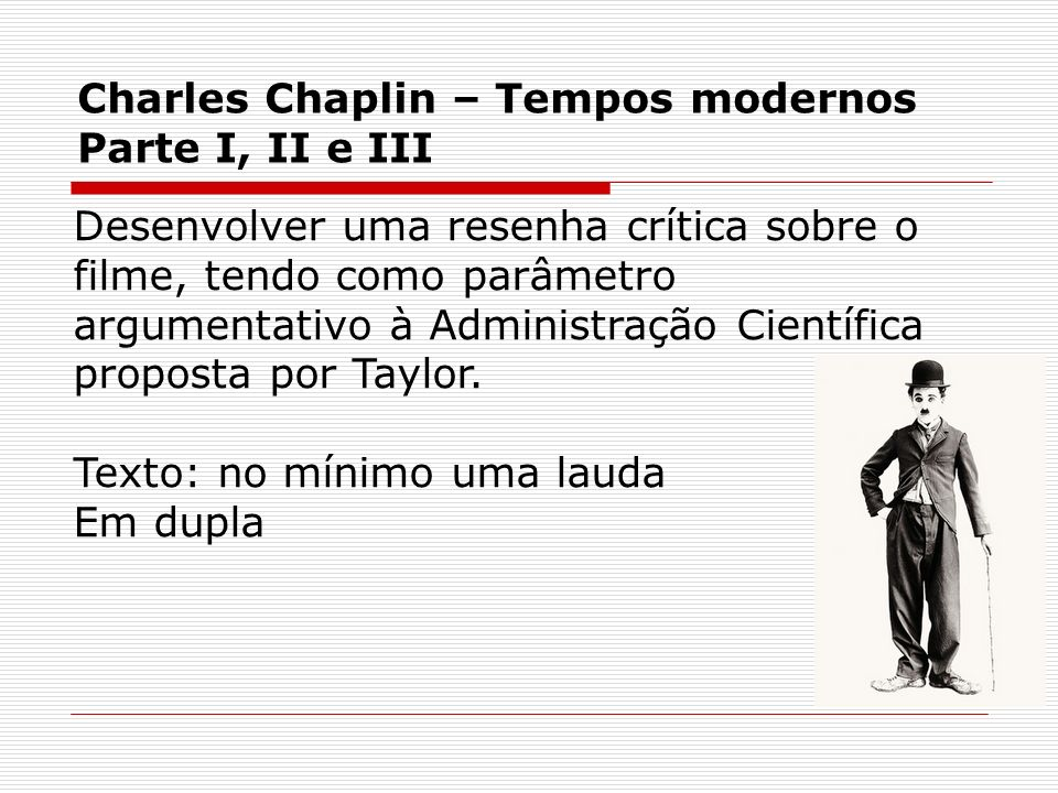 Charles Chaplin – Tempos modernos Parte I, II e III