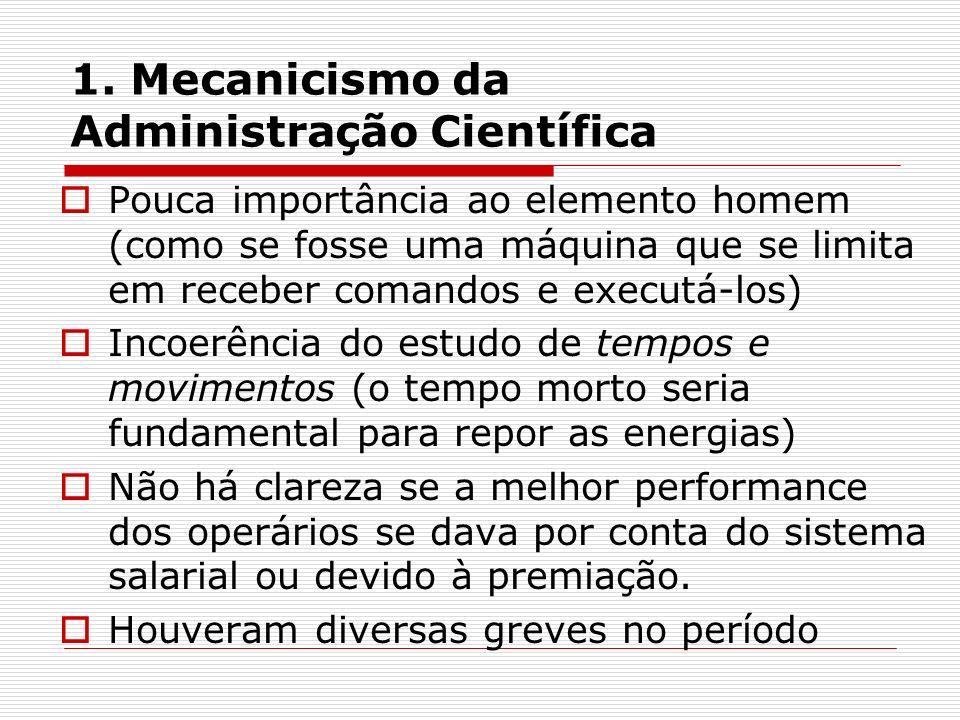 1. Mecanicismo da Administração Científica