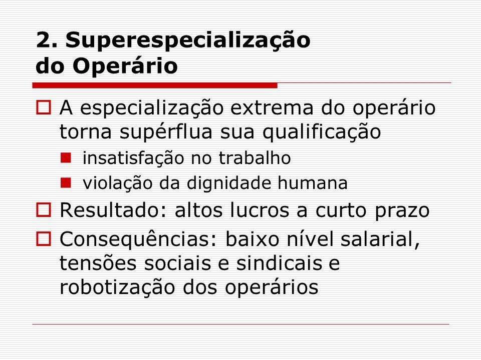 2. Superespecialização do Operário