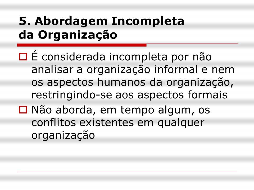 5. Abordagem Incompleta da Organização