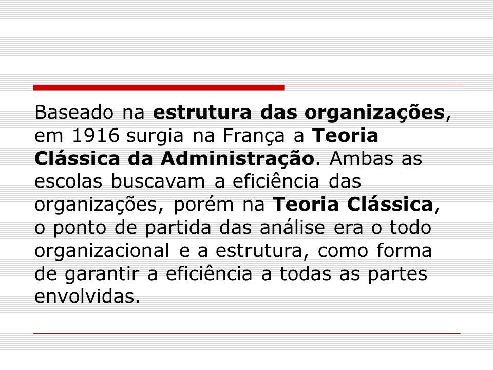 Baseado na estrutura das organizações, em 1916 surgia na França a Teoria Clássica da Administração.