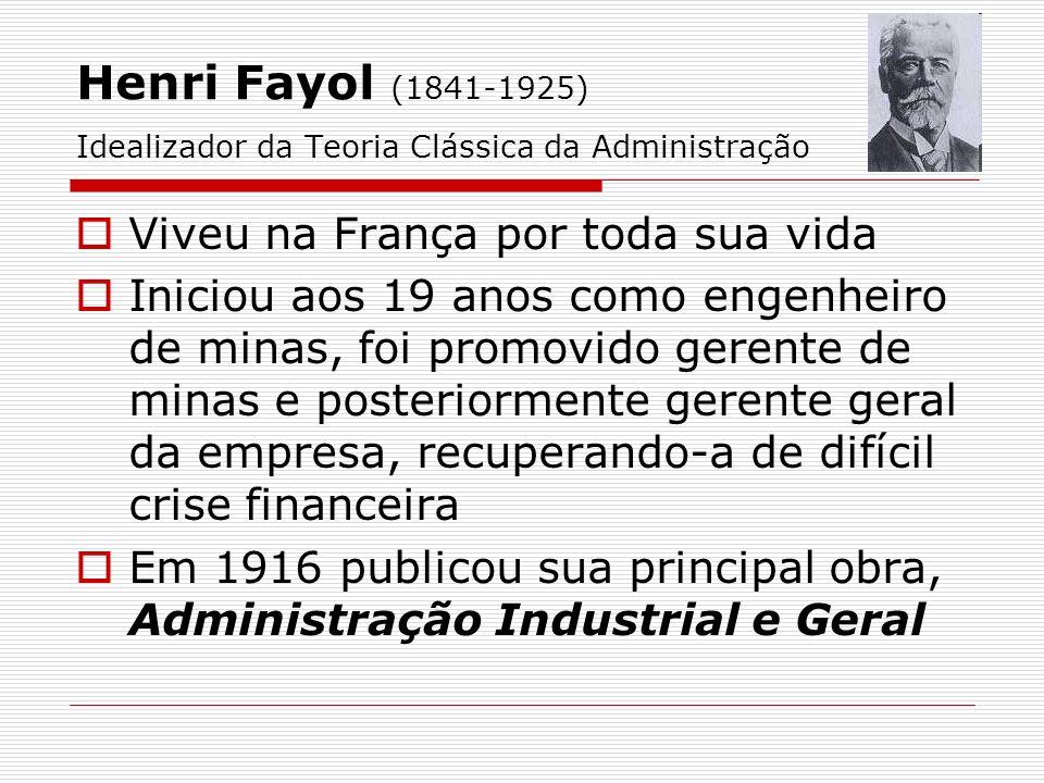 Henri Fayol (1841-1925) Idealizador da Teoria Clássica da Administração