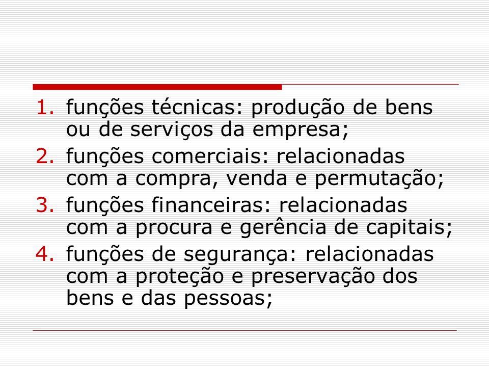 funções técnicas: produção de bens ou de serviços da empresa;