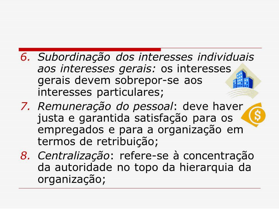 Subordinação dos interesses individuais aos interesses gerais: os interesses gerais devem sobrepor-se aos interesses particulares;