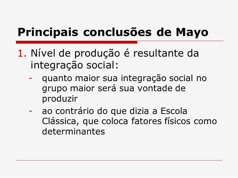Principais conclusões de Mayo