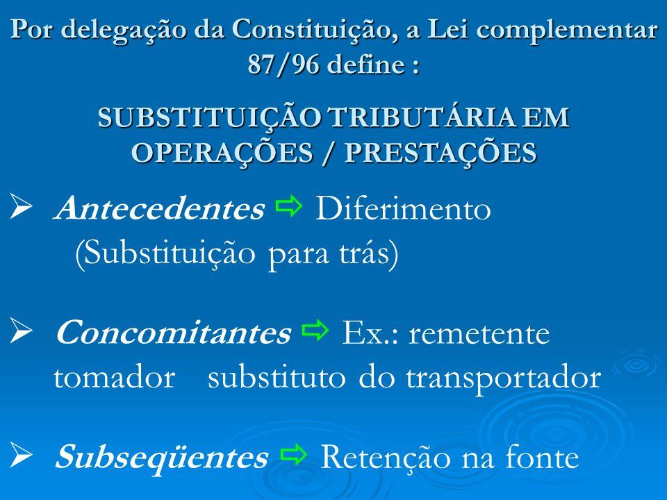 Antecedentes  Diferimento (Substituição para trás)