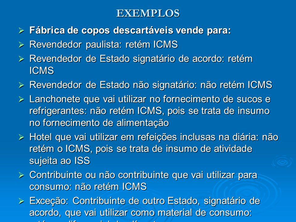 EXEMPLOS Fábrica de copos descartáveis vende para: