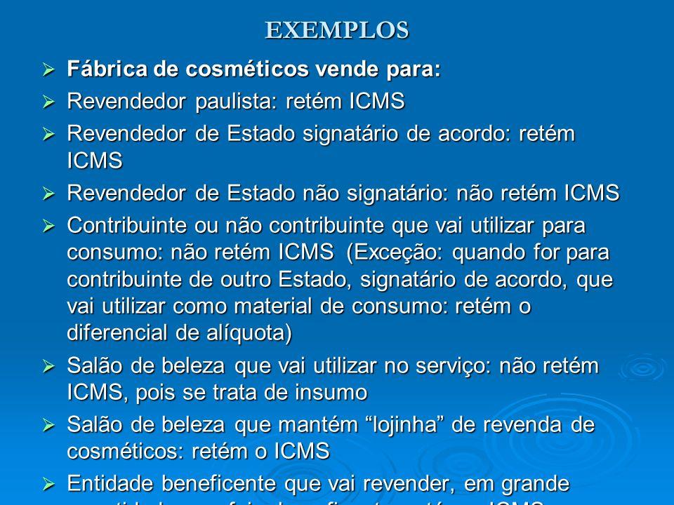 EXEMPLOS Fábrica de cosméticos vende para: