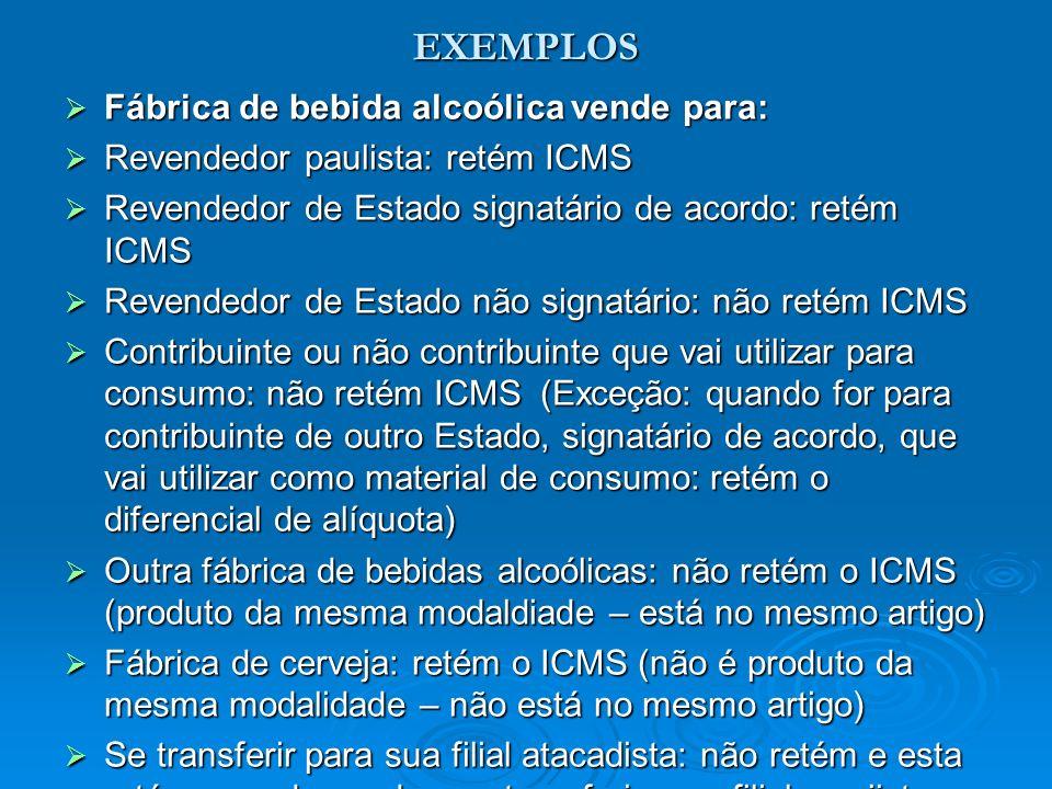 EXEMPLOS Fábrica de bebida alcoólica vende para: