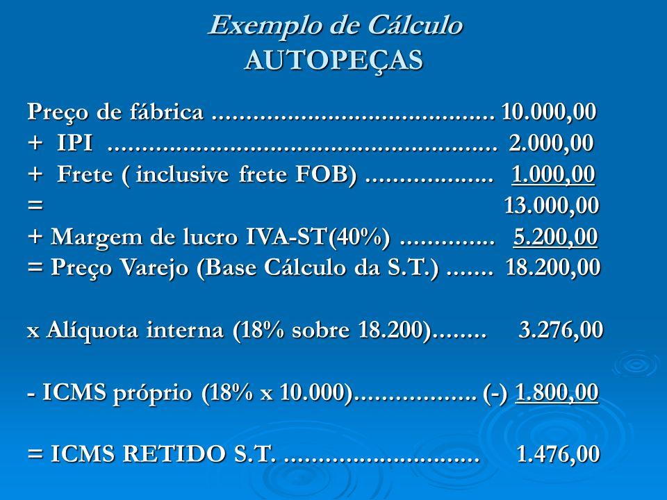 Exemplo de Cálculo AUTOPEÇAS