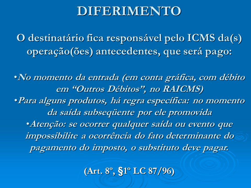 DIFERIMENTOO destinatário fica responsável pelo ICMS da(s) operação(ões) antecedentes, que será pago: