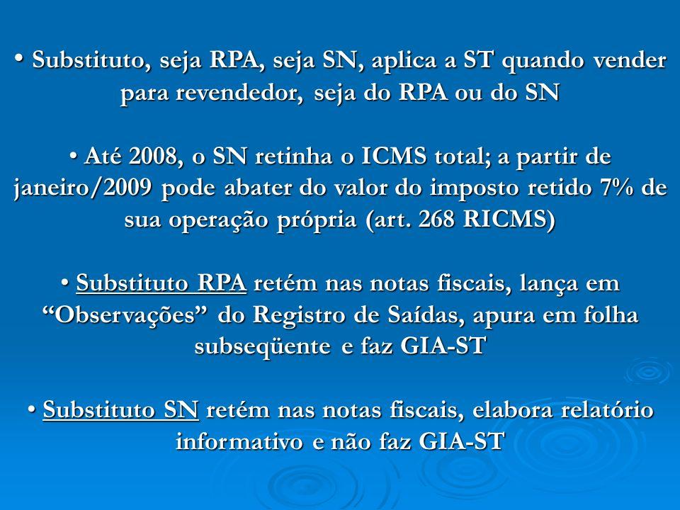 Substituto, seja RPA, seja SN, aplica a ST quando vender para revendedor, seja do RPA ou do SN