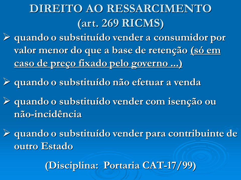 DIREITO AO RESSARCIMENTO (Disciplina: Portaria CAT-17/99)