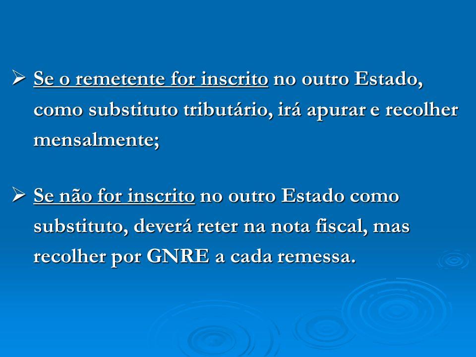Se o remetente for inscrito no outro Estado, como substituto tributário, irá apurar e recolher mensalmente;