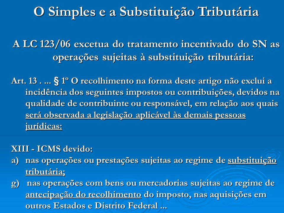 O Simples e a Substituição Tributária