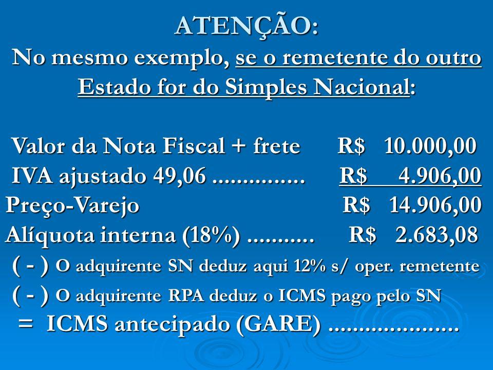 ATENÇÃO:No mesmo exemplo, se o remetente do outro Estado for do Simples Nacional: Valor da Nota Fiscal + frete R$ 10.000,00.