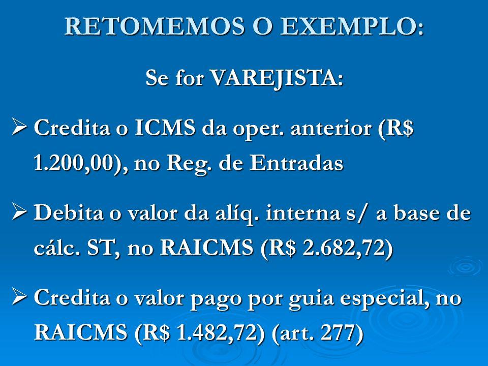 RETOMEMOS O EXEMPLO: Se for VAREJISTA: