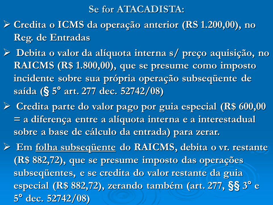Se for ATACADISTA: Credita o ICMS da operação anterior (RS 1.200,00), no Reg. de Entradas.